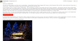 Crested Butte Real Estate Newsletter with Market Analysis and Information