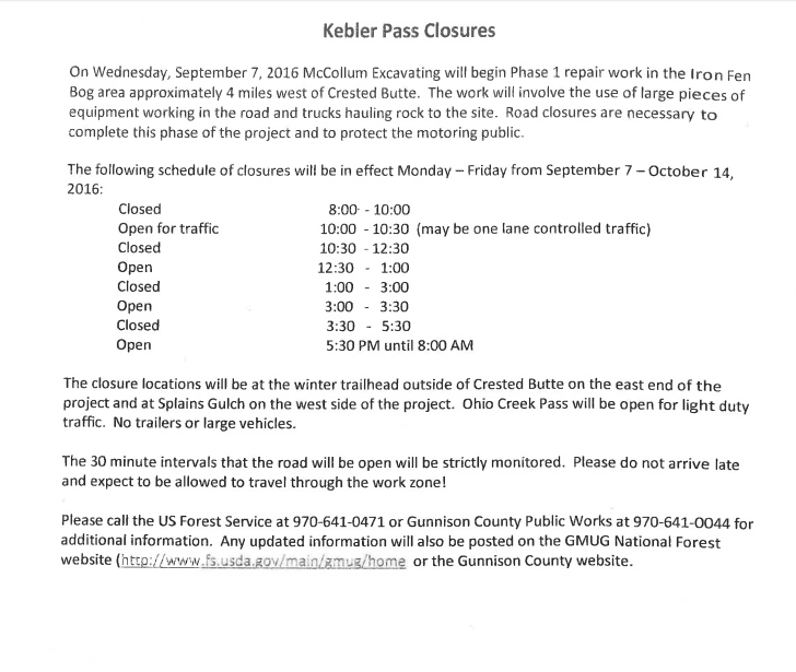 Kebler Pass road closure 2016
